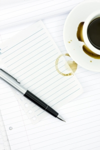 coffee ring and pen